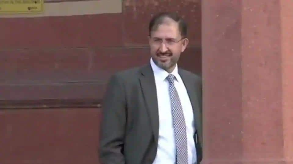 Pakistan Deputy High Commissioner Syed Haider Shah arrives at South Block on Wednesday.