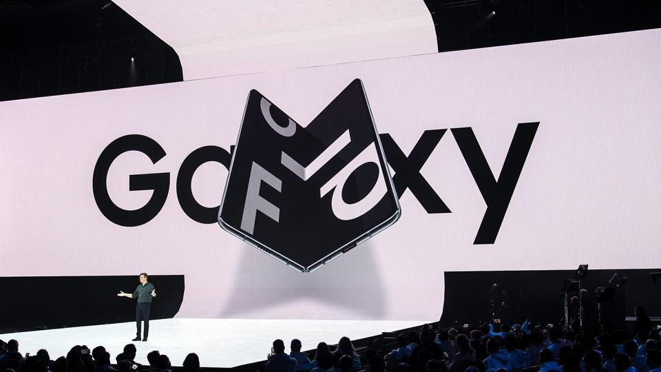 Samsung senior vice president of product marketing Justin Denison speaks on stage about the new foldable phone during the Samsung Unpacked product launch event in San Francisco, California on February 20, 2019.