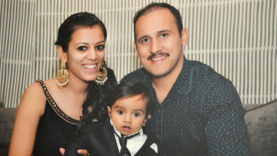 The Squadron Leader with his wife Aarti and son Angad.