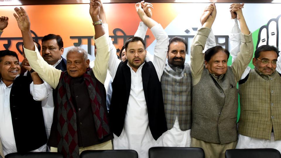 RJD leader Tejashwi Yadav, Hindustani Awam Morcha (Secular) founder Jitan Ram Manjhi, Congress leader Ahmed Patel and others at All India Congress Committee office (AICC), in New Delhi