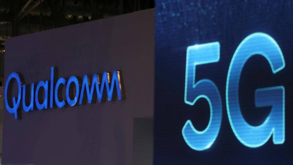 Qualcomm and 5G logos are seen at the Mobile World Congress in Barcelona, Spain, February 26, 2019.