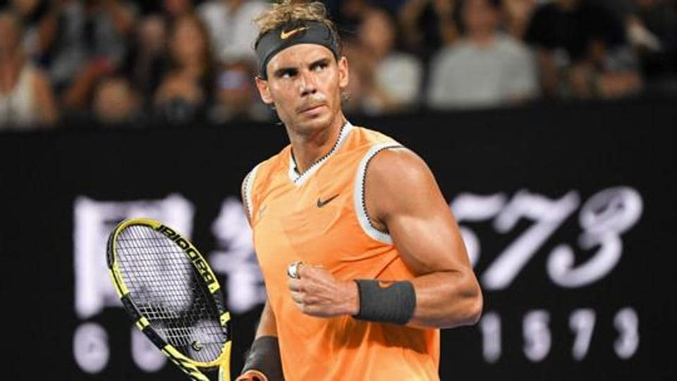 File image of Rafael Nadal celebrating after winning a point during a game.