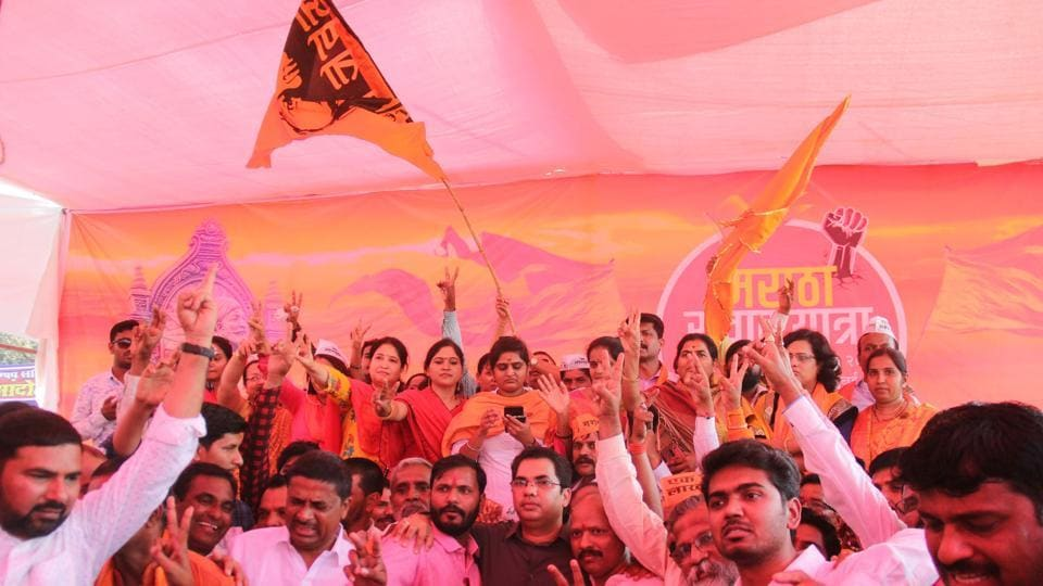 Members of Maratha community celebrate after Maharashtra Assembly unanimously passed a bill proposing 16% reservation for Maratha community.