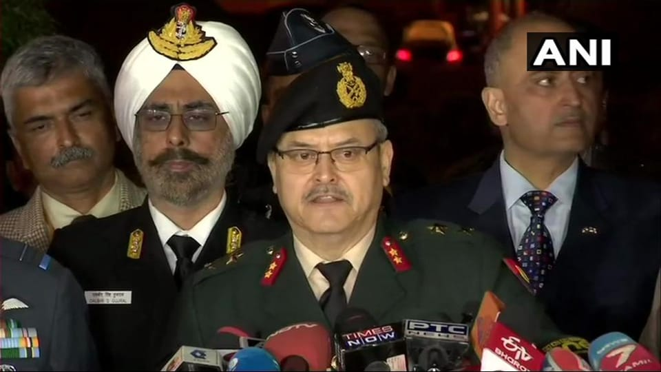 Major General Surendra Singh Mahal addresses a joint press briefing of the Army, Air Force and Navy in New Delhi.