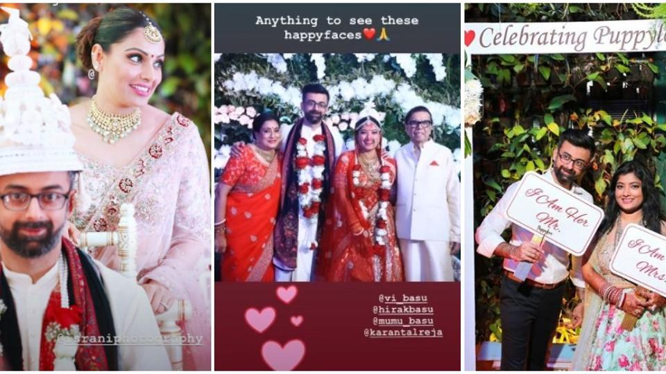 Bipasha Basu shared new pictures  from sister Vijayeta's Bengali wedding. See then here.