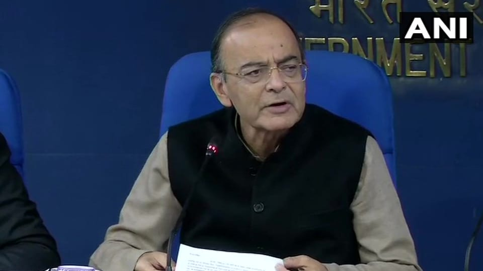 Finance minister Arun Jaitley addresses the media after a cabinet meeting in New Delhi on Thursday.