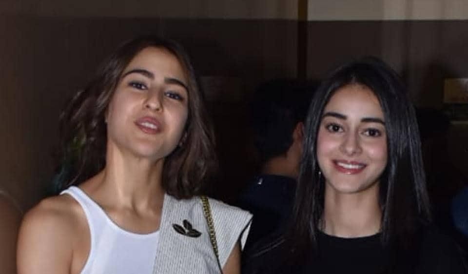 Sara Ali Khan and Ananya Panday at the screening of Sonchiriya in Mumbai.