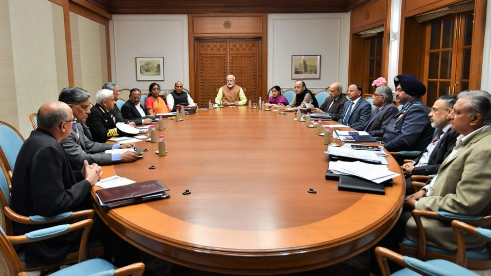 Prime Minister Narendra Modi Thursday chaired a high-level meeting on security amid the heightened tensions with Pakistan and after Imran Khan announced the release of an Indian Air Force pilot captured by his country.