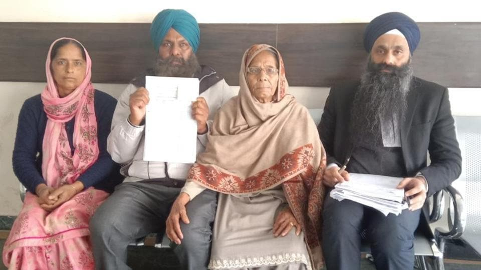 The family of one of the victims, Gurmail Singh, in a Mohali court.