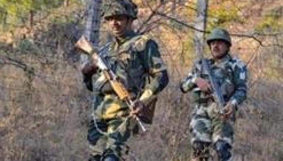 Border Security Force (BSF) jawans patrol near Line of Control (LoC) in Poonch on Monday, Feb 25, 2019.