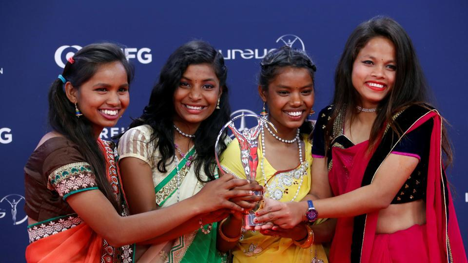 Neeta Kumari, Hema Kumari, Konika Kumari, and Radha Kumari pose after Yuwa-India wins the Sport for Good award at the Laureus World Sports Awards in Salle des Etoiles, in Monaco earlier this month.