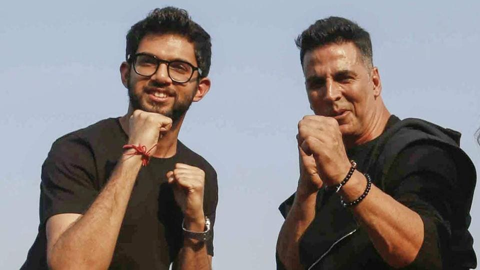 Bollywood actor Akshay Kumar and Yuva Sena Chief Aditya Thackeray pose for photos with school students during a self-defence workshop initiated by Thane Municipal Corporation, in Thane.