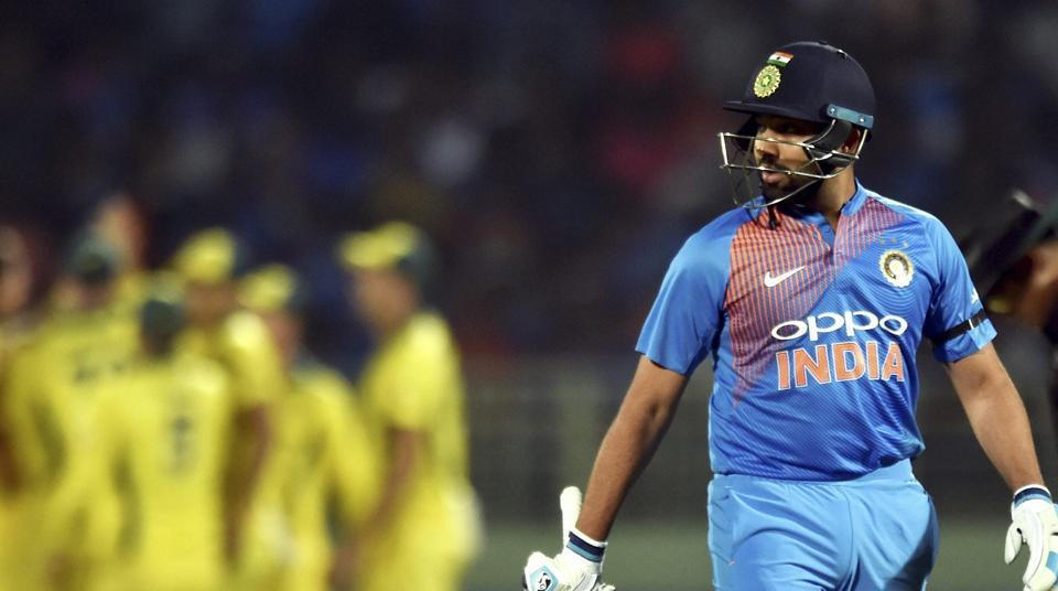 File image: India's Rohit Sharma walks back to the pavilion after his dismissal.