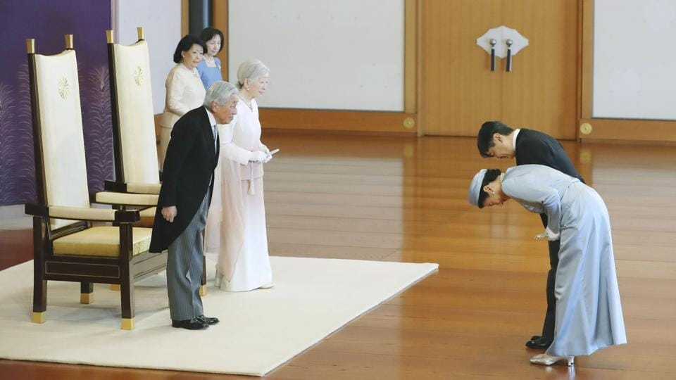 Japan's Emperor Akihito and Empress Michiko receive the greetings of Crown Prince Naruhito and Crown Princess Masako as a part of the ceremony marking 30th anniversary of Emperor Akihito's jubilee at the Imperial Palace in Tokyo, Japan. (Kyodo via REUTERS )