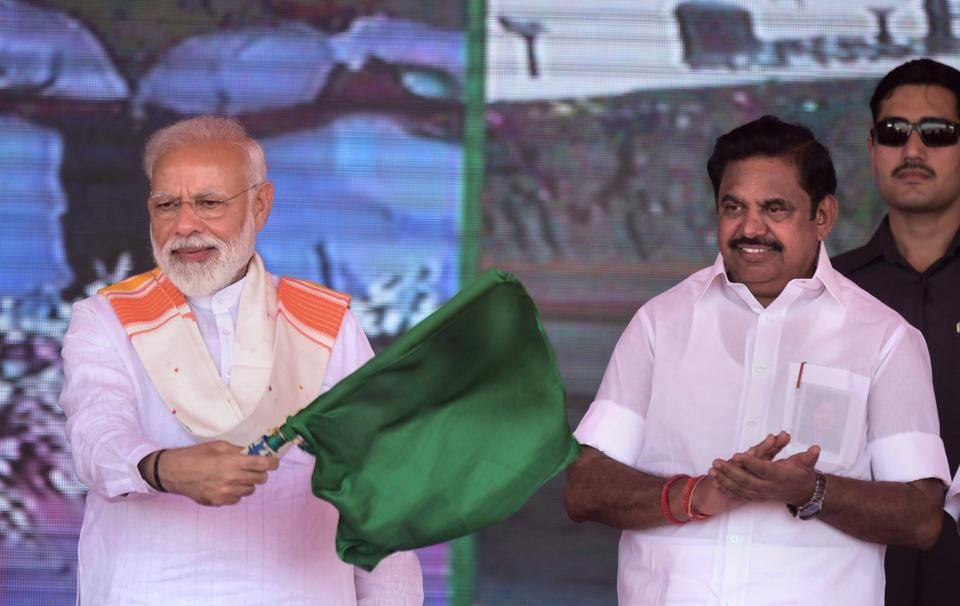 Prime Minister Narendra Modi unveiled various rail-road development projects in Kanyakumari, Tamil Nadu. He delivered an acerbic attack on the Congress-led opposition for its response to terrorism when it was in power. Modi compared the UPA government's refusal to carry out surgical strikes after the 26/11 Mumbai terror to the two that were carried out  after attacks in Uri and Pulwama. (PTI)