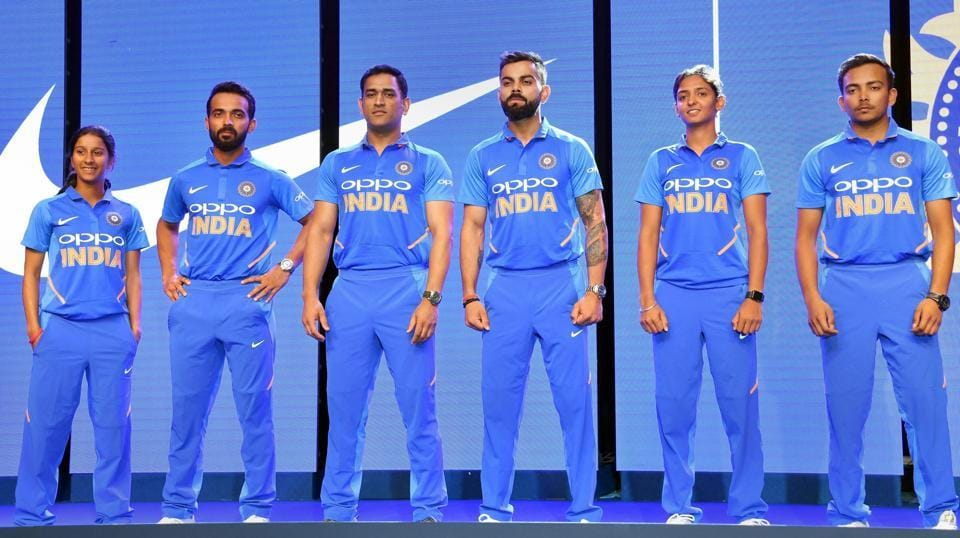 Indian cricket team members unveil the new 'Blue' Team India jersey ahead of World Cup 2019 at an event, in Chennai, Tamil Nadu. (PTI)