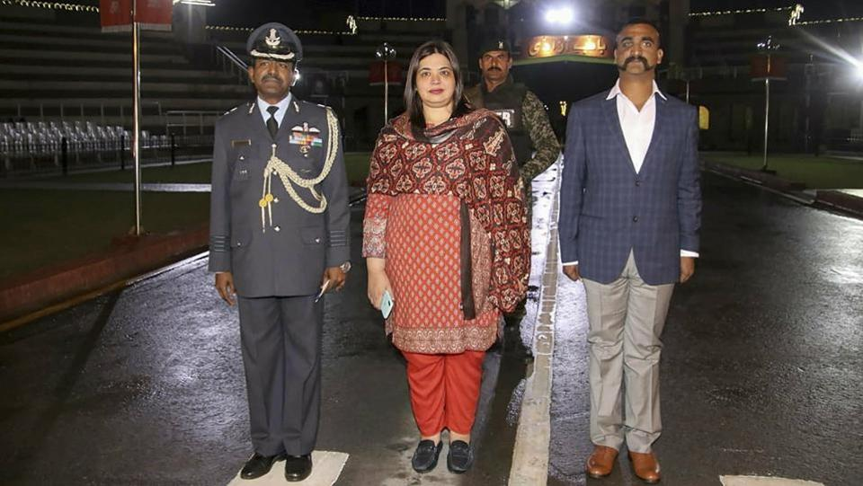 Indian Air Force (IAF) pilot Wing Commander Abhinandan Varthaman as he is released by Pakistan authorities at Wagah border on the Pakistani side. Varthaman was captured by Pakistan after his jet went down following a strike by an enemy missile. (PTI)