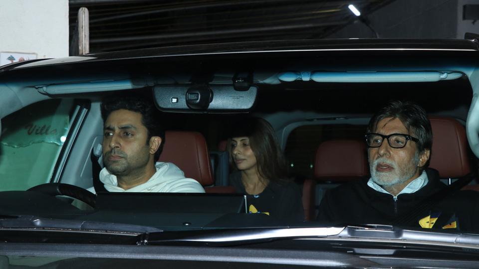 Abhishek Bachchan, Shweta Nanda and Amitabh Bachchan at Badla screening in Mumbai.