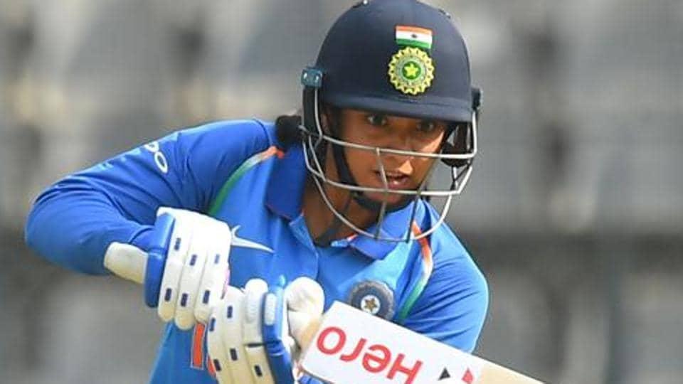 Smriti Mandhana plays a shot during the third match of the women's one-day international (ODI).
