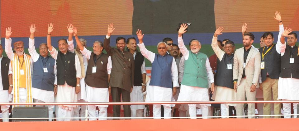 Prime Minister Narendra Modi with the BJP's alliance partners during Sankalp Rally, Patna, March 03