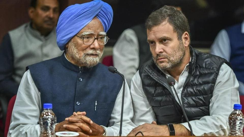 Former prime minister Manmohan Singh and Congress president Rahul Gandhi during Opposition parties' meeting to discuss the Common Minimum Programme (CMP) and chalk out future strategy for the Lok Sabha polls, at Parliament House complex in New Delhi, Wednesday, Feb 27, 2019.
