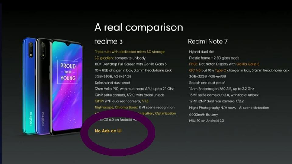 Realme trolls Xiaomi for showing ads on UI, to launch Realme 3 Pro