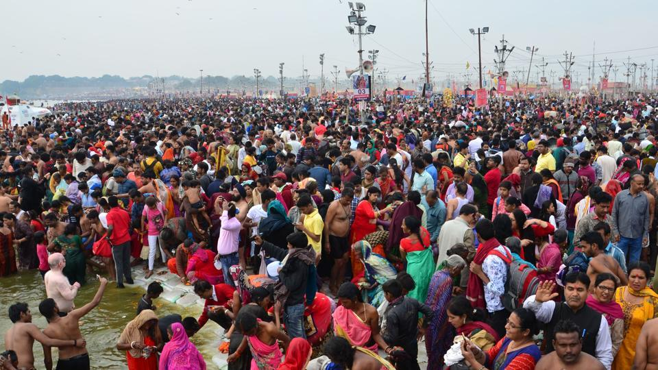 Devotees at Sangam, Prayagraj, during the ongoing Kumbh Mela, Sunday, March 3, 2019. The mega religious fair will end on Monday, March 5, with the last auspicious bathing day on Mahashivratri.