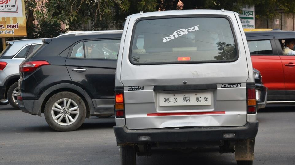 Vehicle sporting different caste labels.