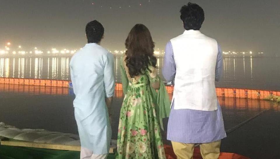 Ranbir Kapoor, Alia Bhatt and director Ayan Mukerji at the Kumbh Mela.
