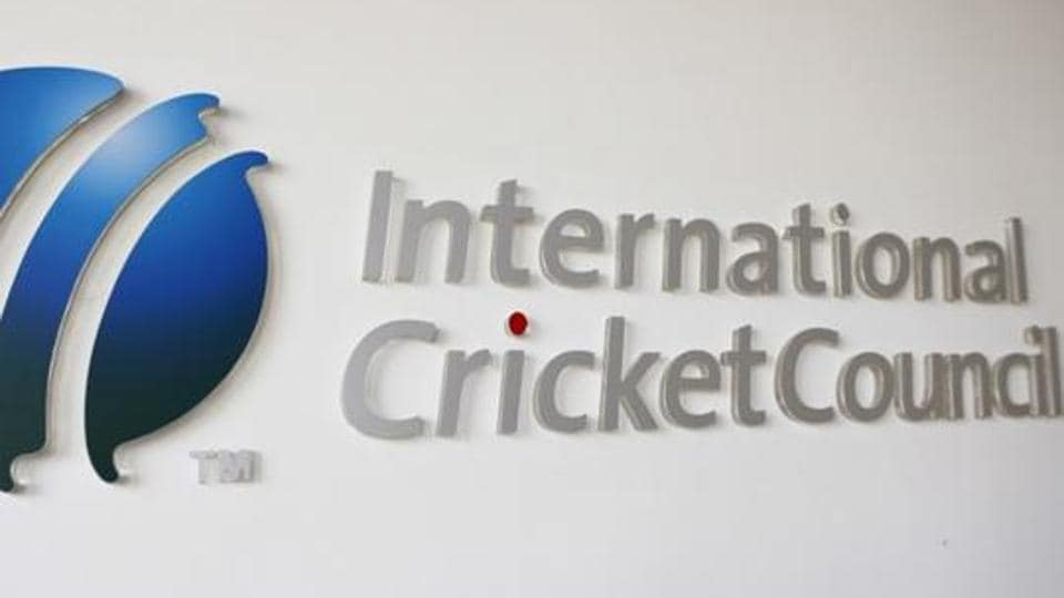 The International Cricket Council (ICC) logo at the ICC headquarters in Dubai.