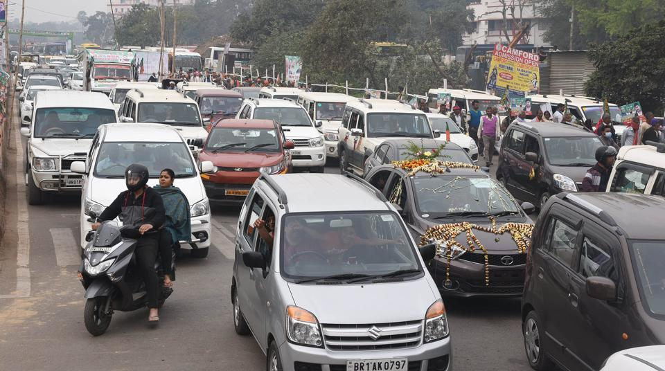 Traffic jam during NDA's Sankalp Rally at Gandhi Maidan in Patna, on Sunday March 03,2019.