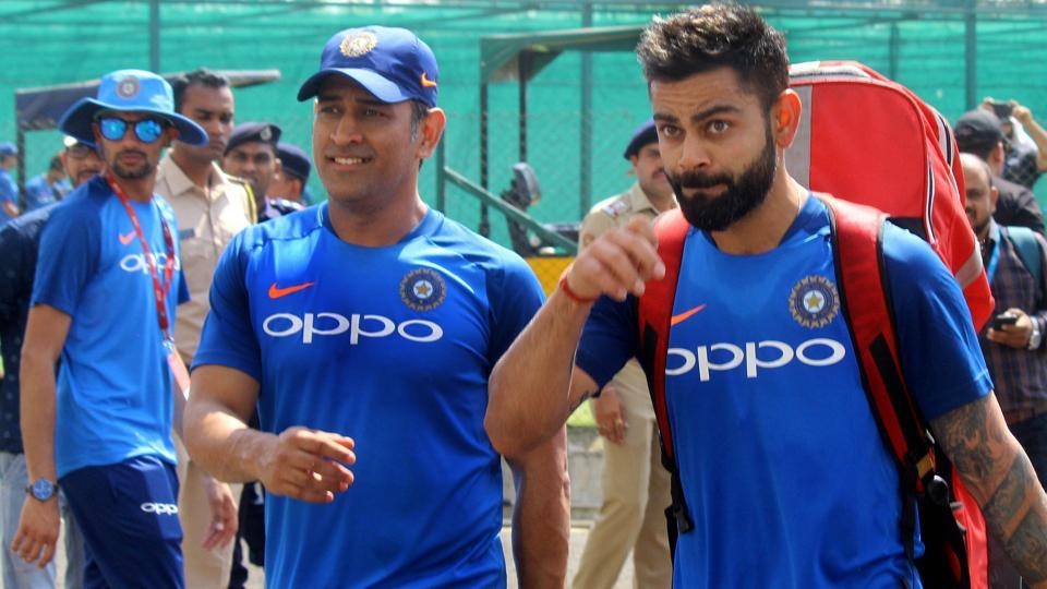 Virat Kohali with MS Dhoni at a practise session during the second One Day International (ODI) in Nagpur.