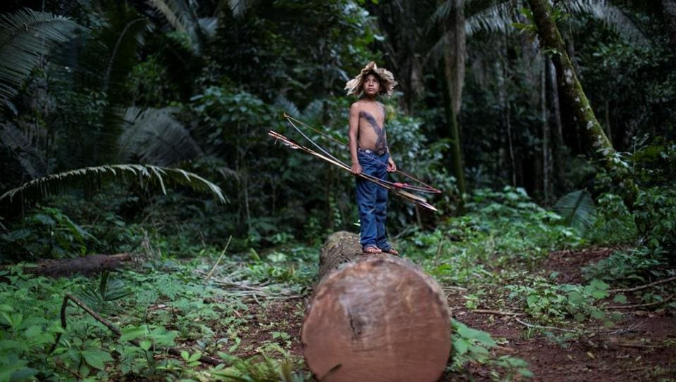 An indigenous child of Uru-eu-wau-wau tribe looks on in an area deforested by invaders, after a meeting was called in the village of Alto Jamari to face the threat of land grabbers. Ten days after Brazil's right-wing President Jair Bolsonaro took office, dozens of men armed with machetes, chainsaws and firearms entered the protected area, hacking a pathway beneath the jungle canopy to stake their claims. (Ueslei Marcelino / REUTERS)