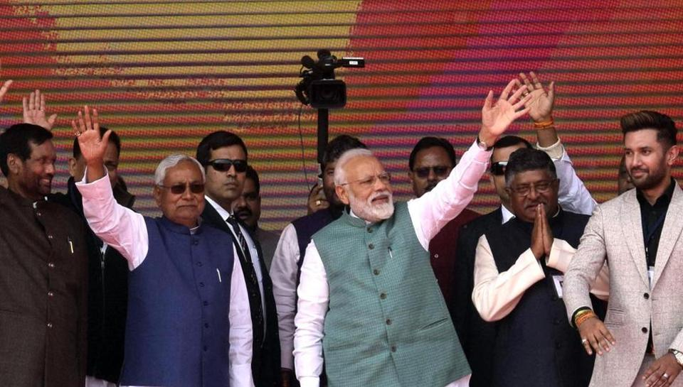 Prime Minister Narendra Modi, Bihar CM Nitish Kumar and other leaders at a NDA rally in Patna, Sunday, March 3, 2019.