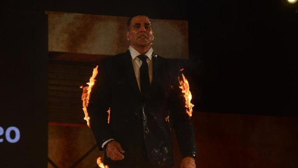 Akshay Kumar performs the live fire stunt at an event in Mumbai.