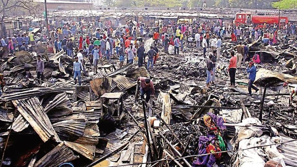The slum where the fire broke out is inhabited by migrant workers from West Bengal, who mostly work as domestic helps in the city