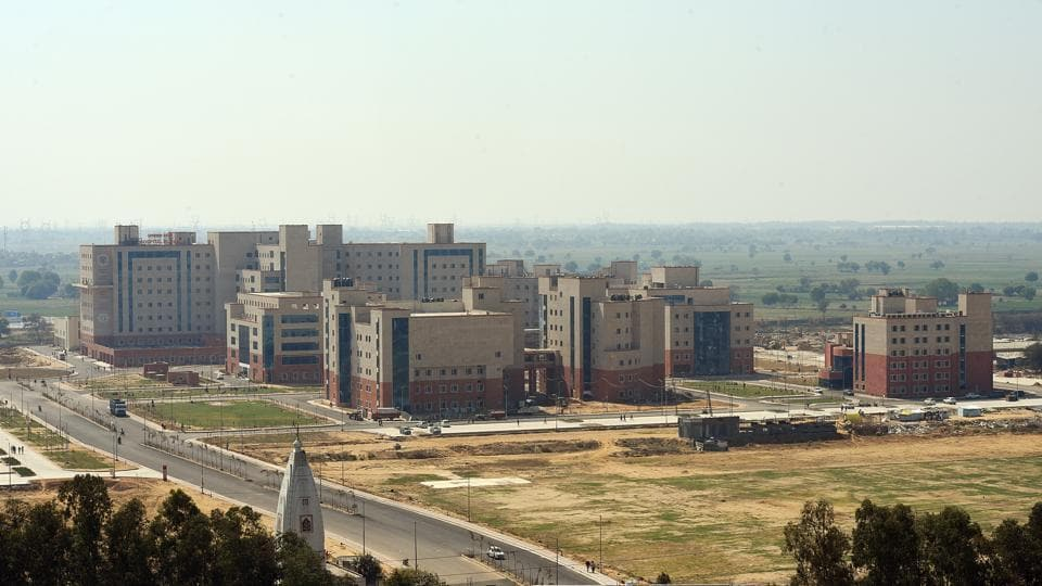 An aerial view of newly constructed All India Institutes of Medical Sciences (AIIMS) at Jhajjar, Haryana that houses the National Cancer Institure (NCI). The NCI is the first in a nationwide grid of high-end public hospitals being developed to offer affordable and quality cancer treatment at the district level. (Amal KS / HT Photo)