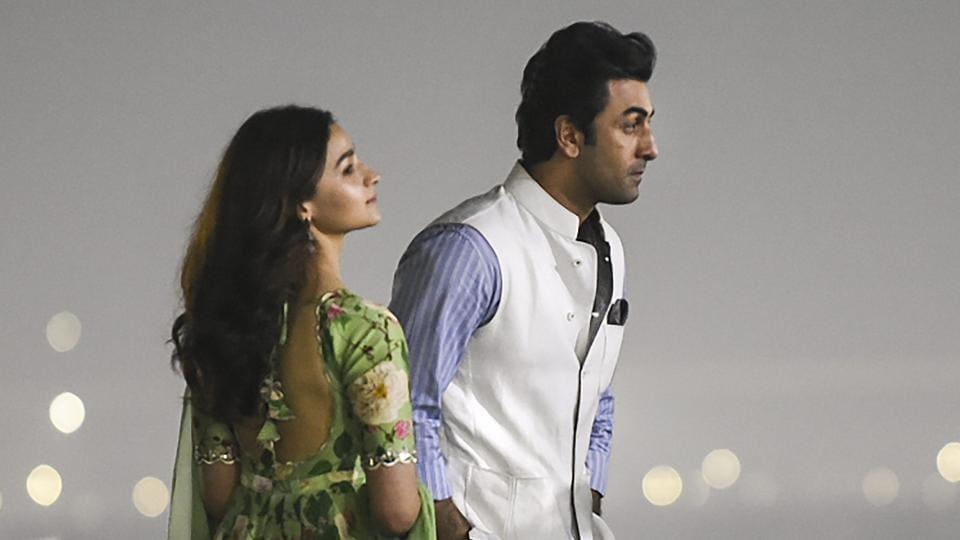 Ranbir Kapoor and Alia Bhatt during the logo release of their upcoming film Brahmastra at Kumbh Mela, in Prayagraj.