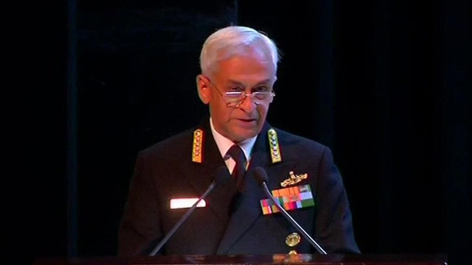 Navy Chief Admiral Sunil Lanba speaking at Indo-Pacific regional dialogue in New Delhi.