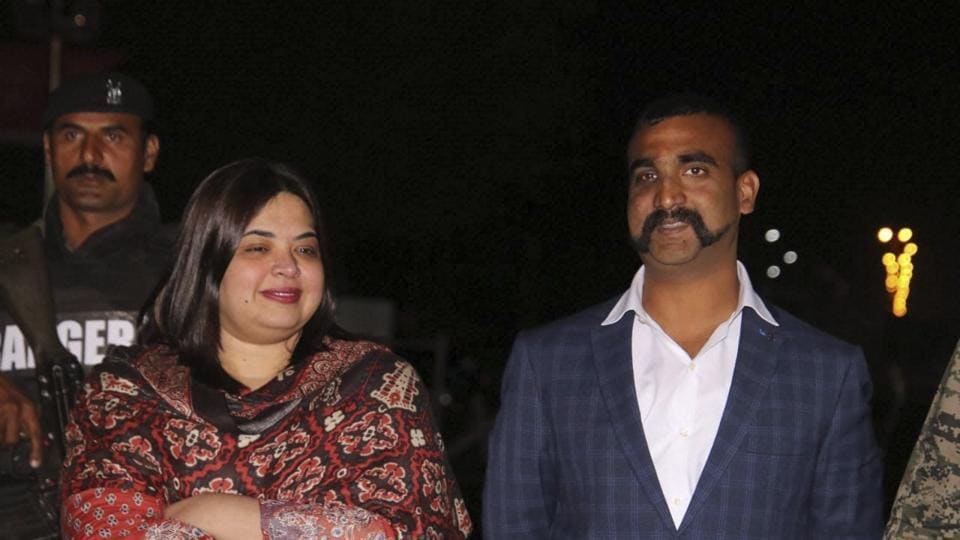 Indian Air Force (IAF) pilot Wing Commander Abhinandan Varthaman  at the Wagah border after his release by Pakistani authorities on Friday.