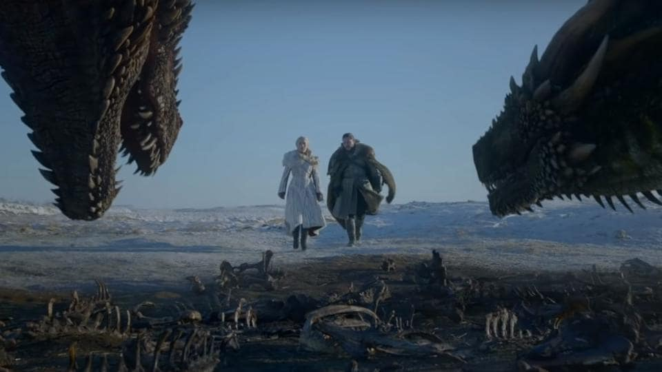 JonSnow, Daenerys and one of her dragons from the new trailer of Game of Thrones.
