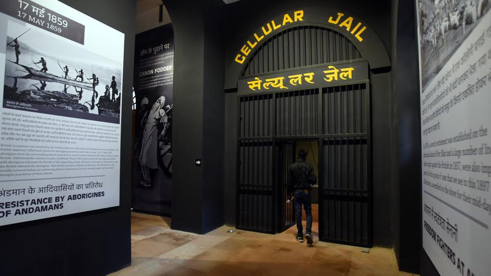Divided into 22 zones, the museum has more than 150 panels, four audio visuals, archival data, the Andaman cellular jail experience (pictured), panels of women and child martyrs, touch-screen kiosks and digital tribute kiosks. There is also a tribute room with digital candles. (Amal KS / HT Photo)