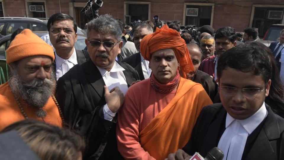 """Swami Chakrapani of the Hindu Mahasabha after a hearing of the Ram Janambhoomi-Babri Masjid case on March 6. The Hindu Mahasabha told the Supreme Court on Wednesday that it is not ready for any kind of mediation to resolve the dispute. """"For us, it is a sentimental issue,"""" the Mahasabha told the top court, asking the five-judge constitution bench to decide the decades-old Babri Masjid-Ram Janmabhoomi land dispute case. (Sushil Kumar / HT Photo)"""