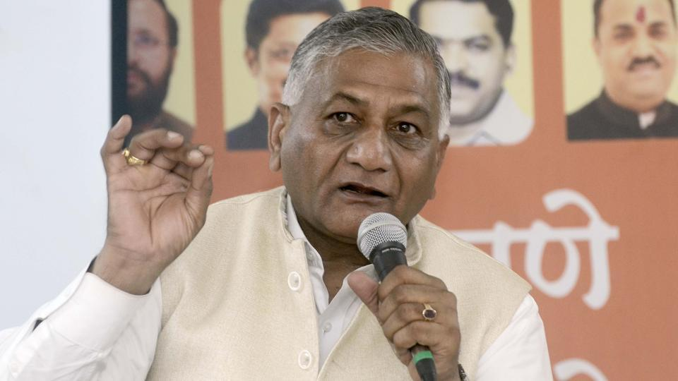 Union minister and ex-Army chief General VK Singh at a press conference in Pune on February 13, 2019. (Photo by Ravindra Joshi/HT PHOTO)