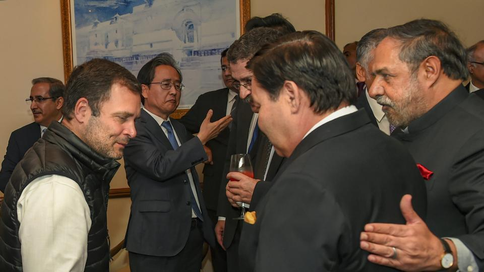 New Delhi: Congress Prsident Rahul Gandhi greets the Ambassadors/High Commissioners of G-20 and neighbouring countries, during a meeting in New Delhi, Wednesdy, March 6, 2019.