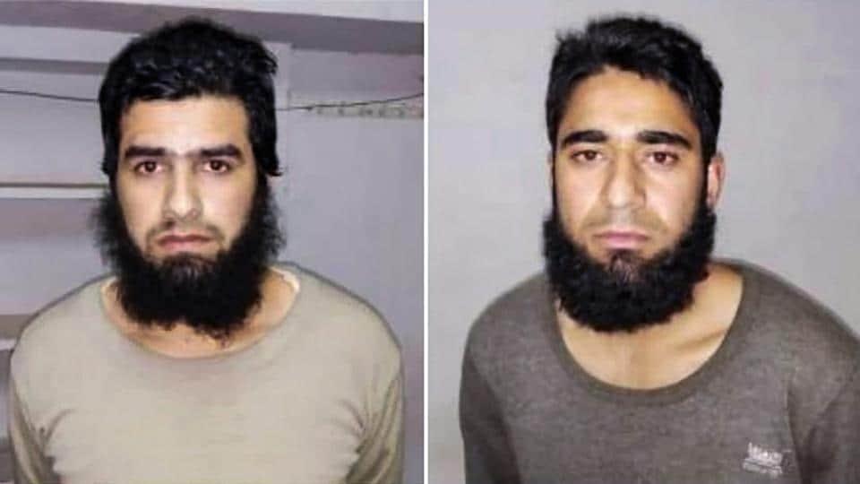 Lucknow: Photographs of Shahnawaz Ahmed Teli (L) and Aqib Ahmad Malik  who were arrested by the Uttar Pradesh Police ATS in Deoband, Friday 22