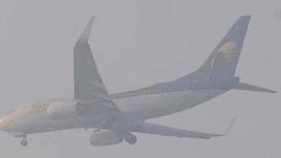 A plane lands at the Patna airport