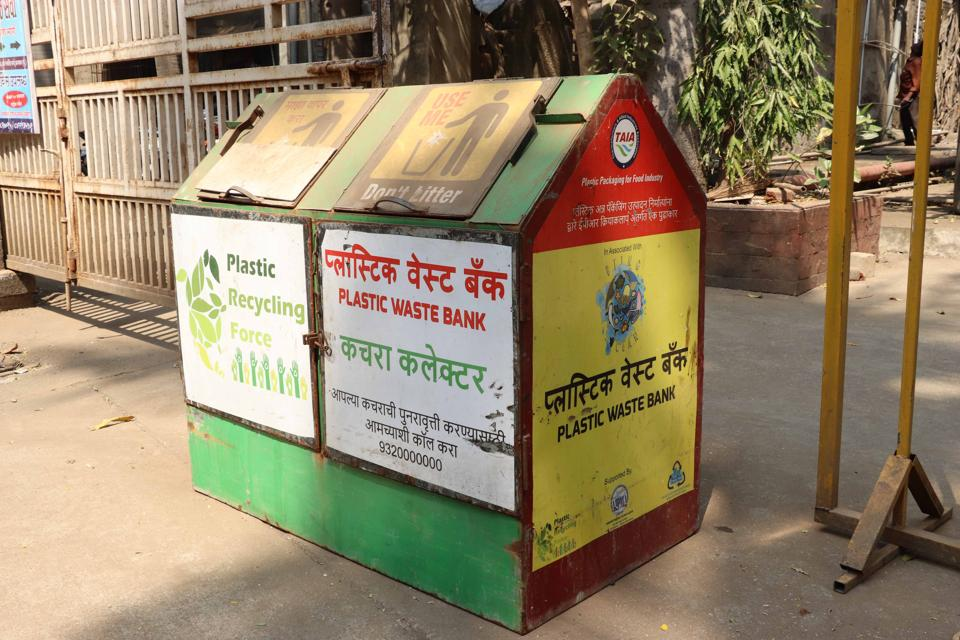 A plastic waste collection bin used by the KDMC.
