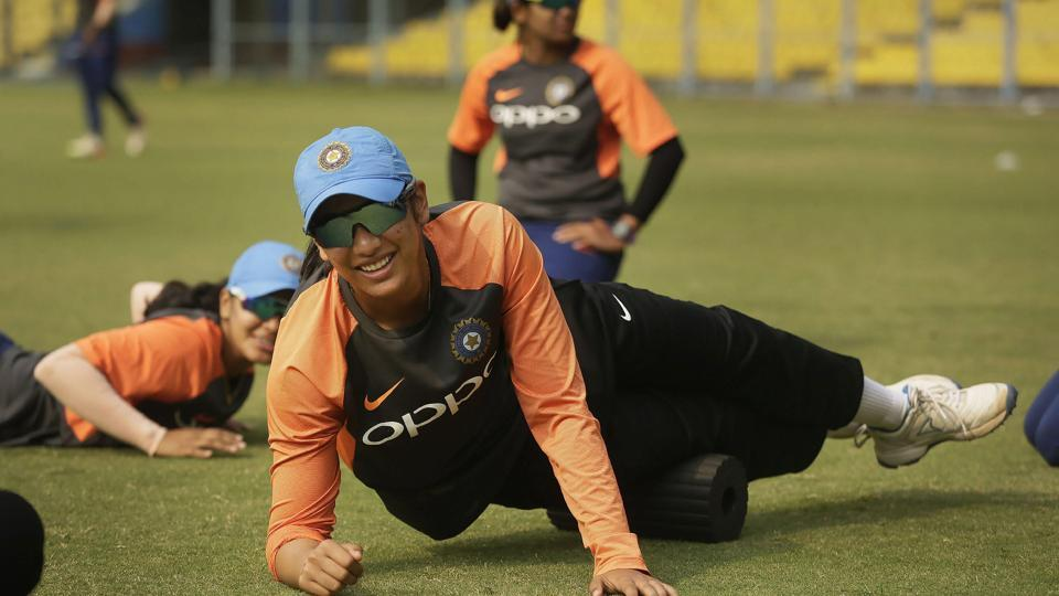 Smriti Mandhana during a practice session ahead of the 2nd T20 match against England.