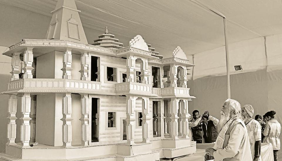 A model of Ram Mandir, to be built in Ayodhya showcased at Kumbh Mela festival 2019, in Allahabad